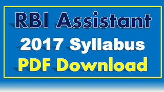 RBI Assistant 2017 Syllabus PDF