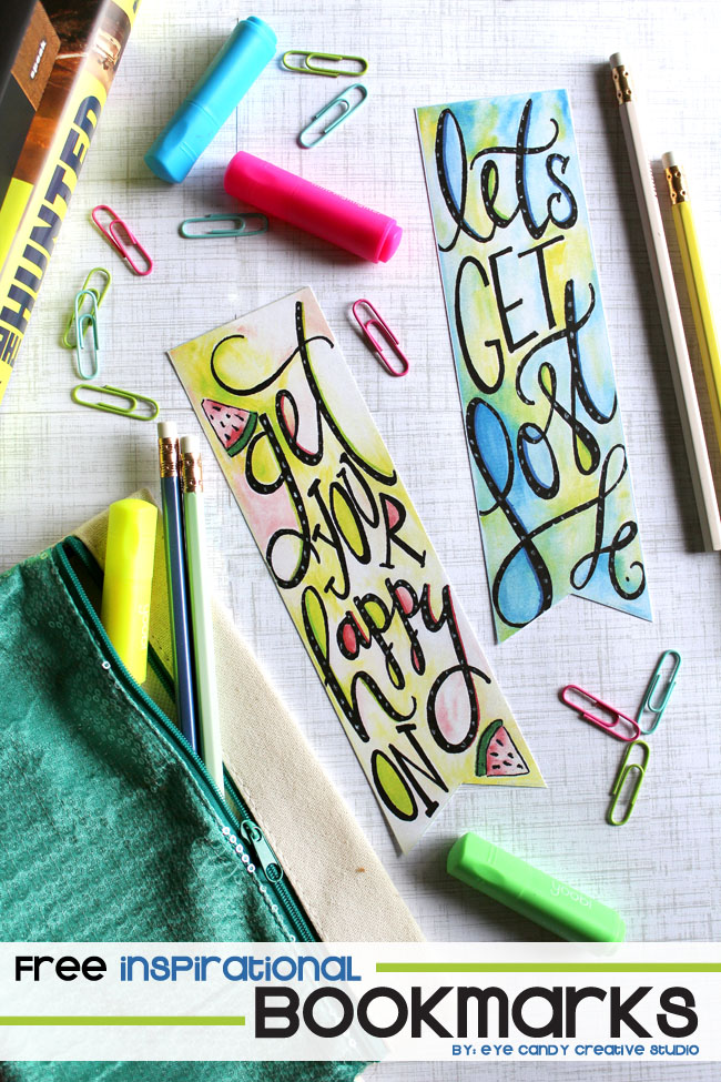 free bookmarks, inspirational, watercolor, ahnd lettering, tombow