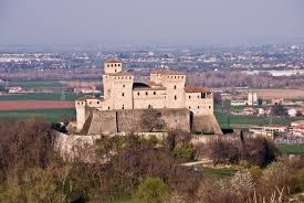 The Castle of Torrechiara towers above the town of Langhirano, near the city of Parma