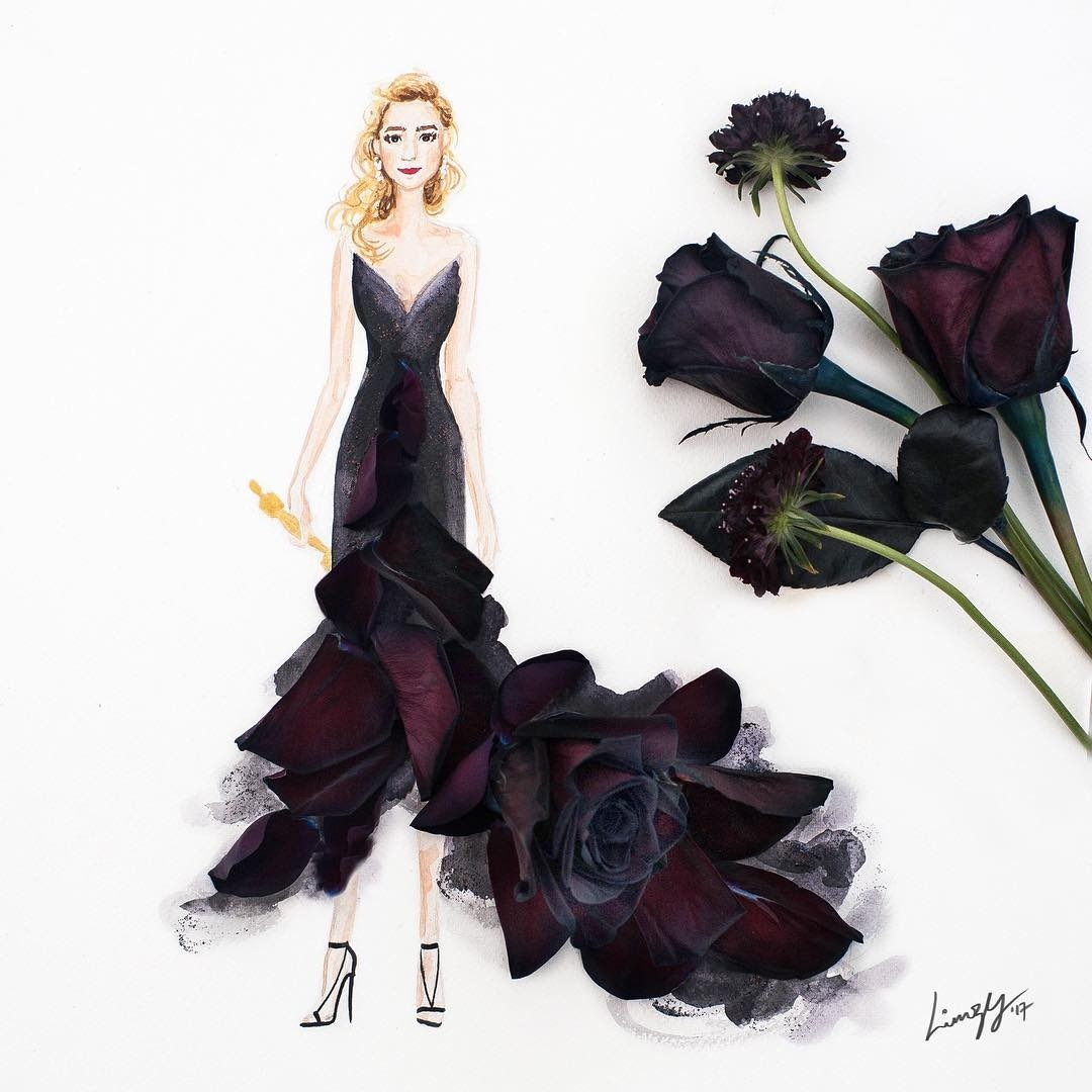 01-Black-Roses-Limzy-Real-Flowers-in-Drawings-of-Dresses-www-designstack-co