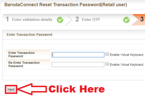 how to reset transaction password of bank of baroda