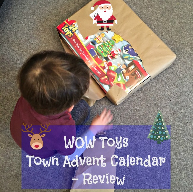 wow-toys-town-advent-calendar-review-text-over-image-of-child-with-box-in-brown-wrapping-paper