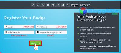Mendaftarkan Badge Perlindungan Konten DMCA