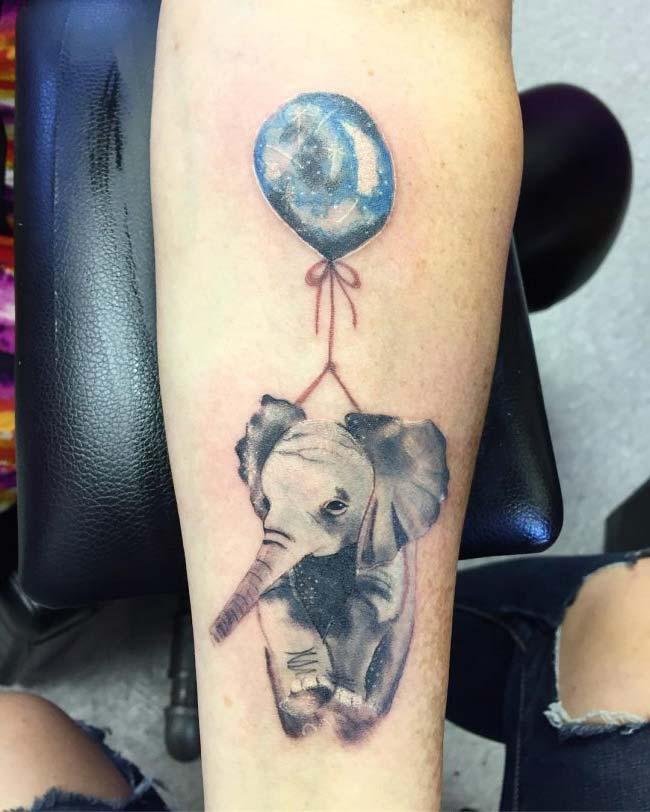 balonlu fil dövmesi