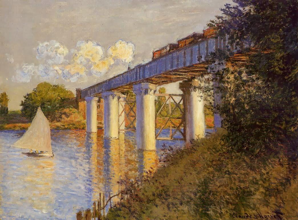 art artists claude monet part 7 1874 1875 claude monet 1874 the railway bridge at argenteuil oil on canvas 54 x 71 4 cm philadelphia museum of art pa