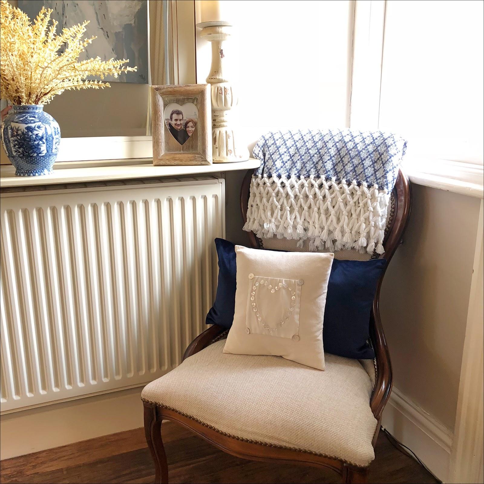 my midlife fashion, marks and spencer velvet scatter cushion, marks and spencer elsie tassel throw