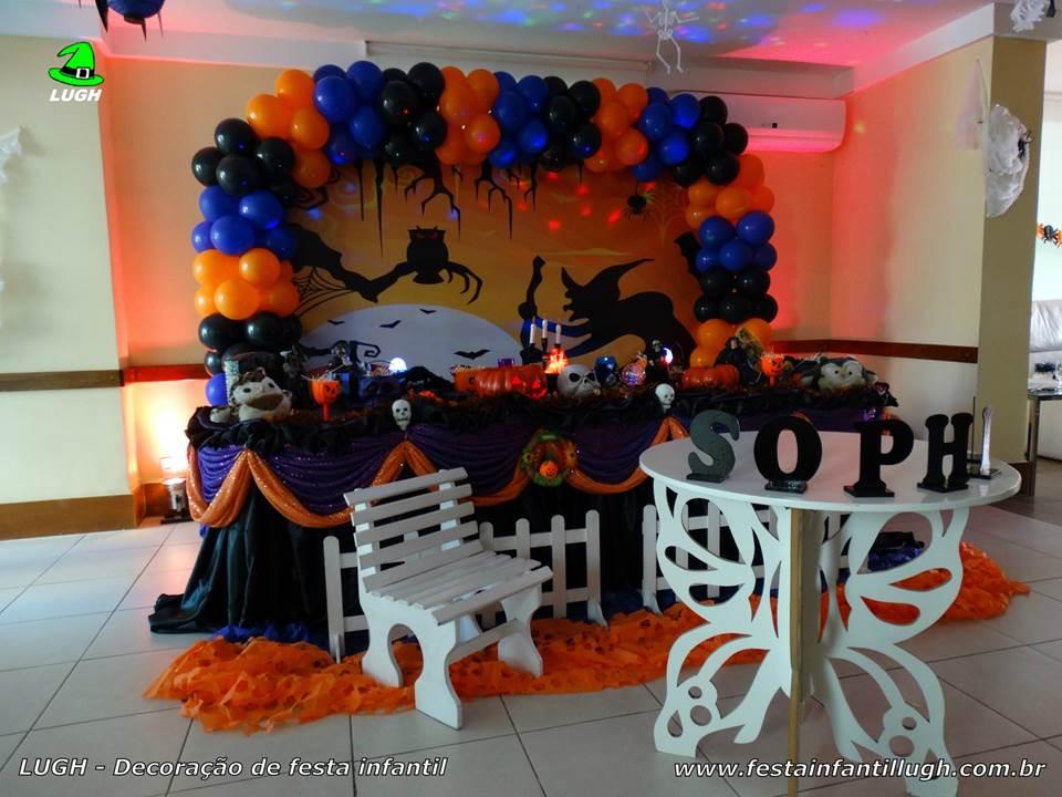 Decoraç u00e3o tema Halloween para festa infantil Festa Infantil Lugh -> Decoracao Para Mesa Halloween