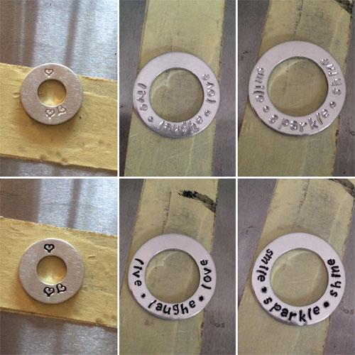 tekst en symbolen slaan in aluminium ronde ring