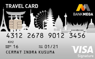 Design kartu kredit Mega Travel card