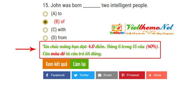 Kết quả làm bài thi sẽ cho biết bạn đạt bao nhiêu câu và bao nhiêu điểm