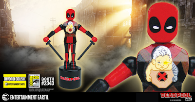 San Diego Comic-Con 2018 Exclusive Deadpool & Baby Cable Marvel Wood Push Puppet by Entertainment Earth