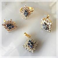 Jual Set Perhiasan Emas Berlian Kombinasi Batu London Topaz