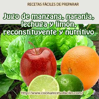 Jugo reconstituyente y nutritivo✅En este ocasión les daremos una receta a base de manzana, naranja, lechuga y limón,rico en fibra, hidratante y regeneradora