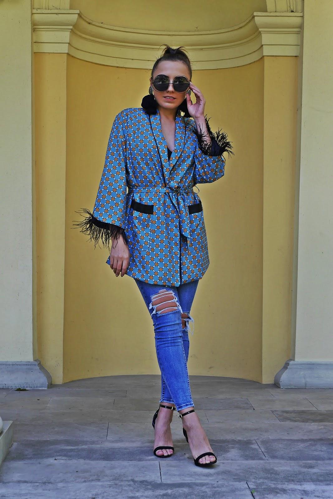 jeansowe spodnie renee czarne szpilki atmosphere kimono shein