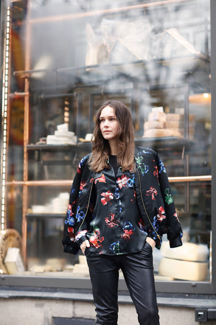 floral print top and jacket street style