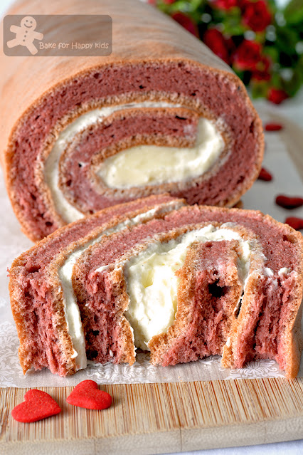 cottony soft red velvet chiffon Swiss roll light cream cheese filling