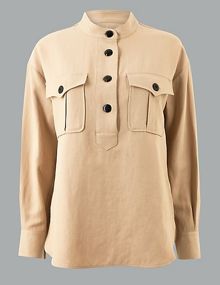 marks and spencer high neck long sleeve shirt