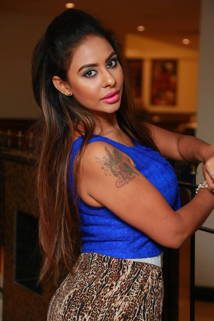 Sri Reddy Blue Dress HD Stills At Muse Art Gallery