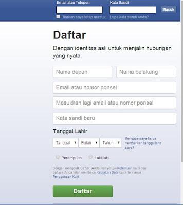 Cara Membuat Daftar Akun Facebook