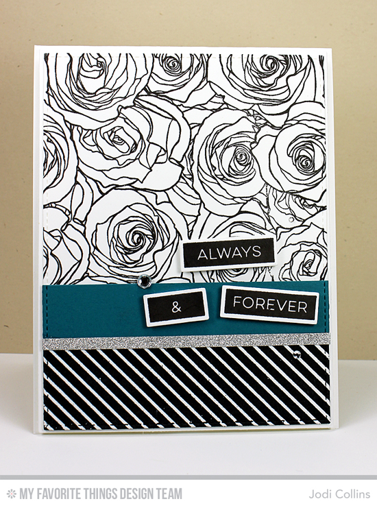 Handmade card from Jodi Collins featuring Label Maker Love stamp set, Roses All Over and Diagonal Stripes Background stamps, Label Tape, Blueprints 2 and Blueprints 13 Die-namics #mftstamps