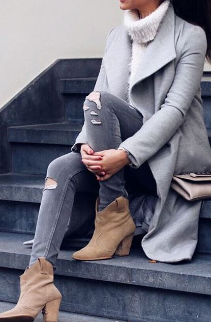 Spring outfit idea: grey coat + ripped jeans + heels