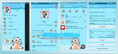 BBM Tema Blue MoOo V.2.12.0.9 + Free Skin Smart Keyboard and Font