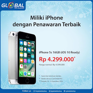 iPhone 5s Promo Harga Rp 4.299.000 di Global Teleshop