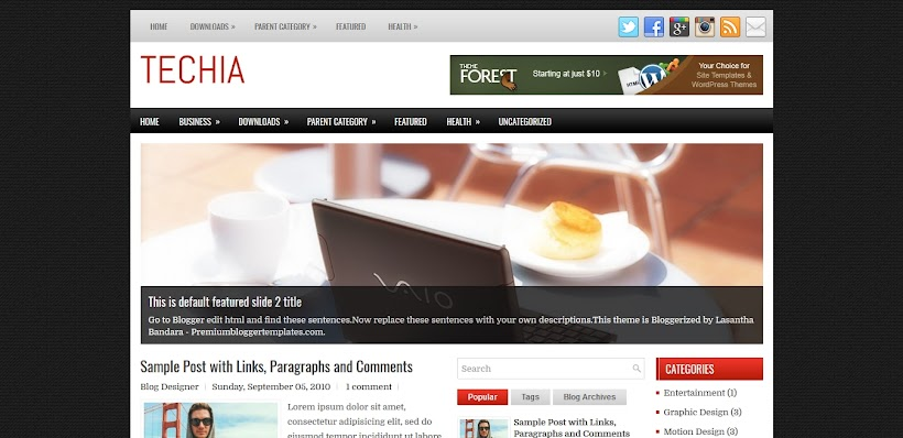 Techia Free Blogger Template