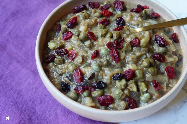 compotée aubergines câpres cranberries vegan recette estivale