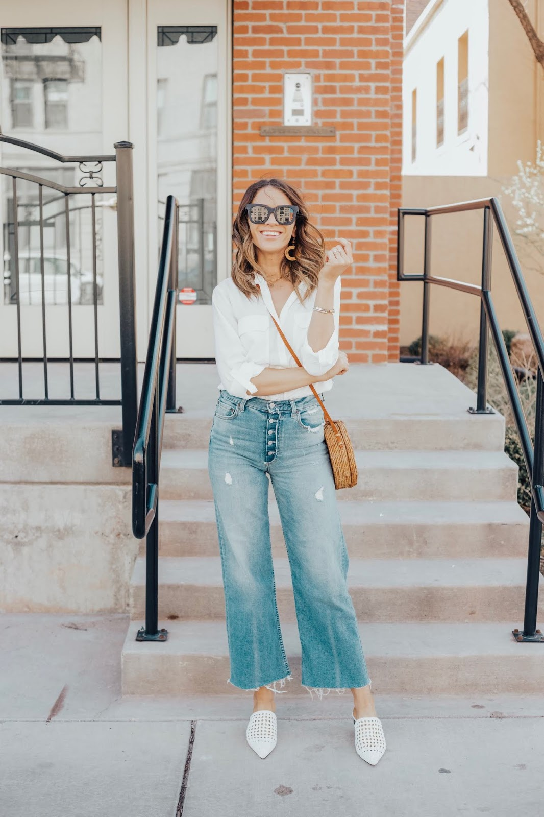 white button up boyish jeans white mules