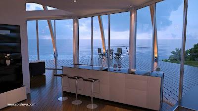 Interior de moderna casa domo solar pasiva