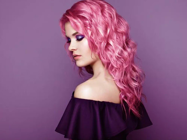 curly pink hairstyle