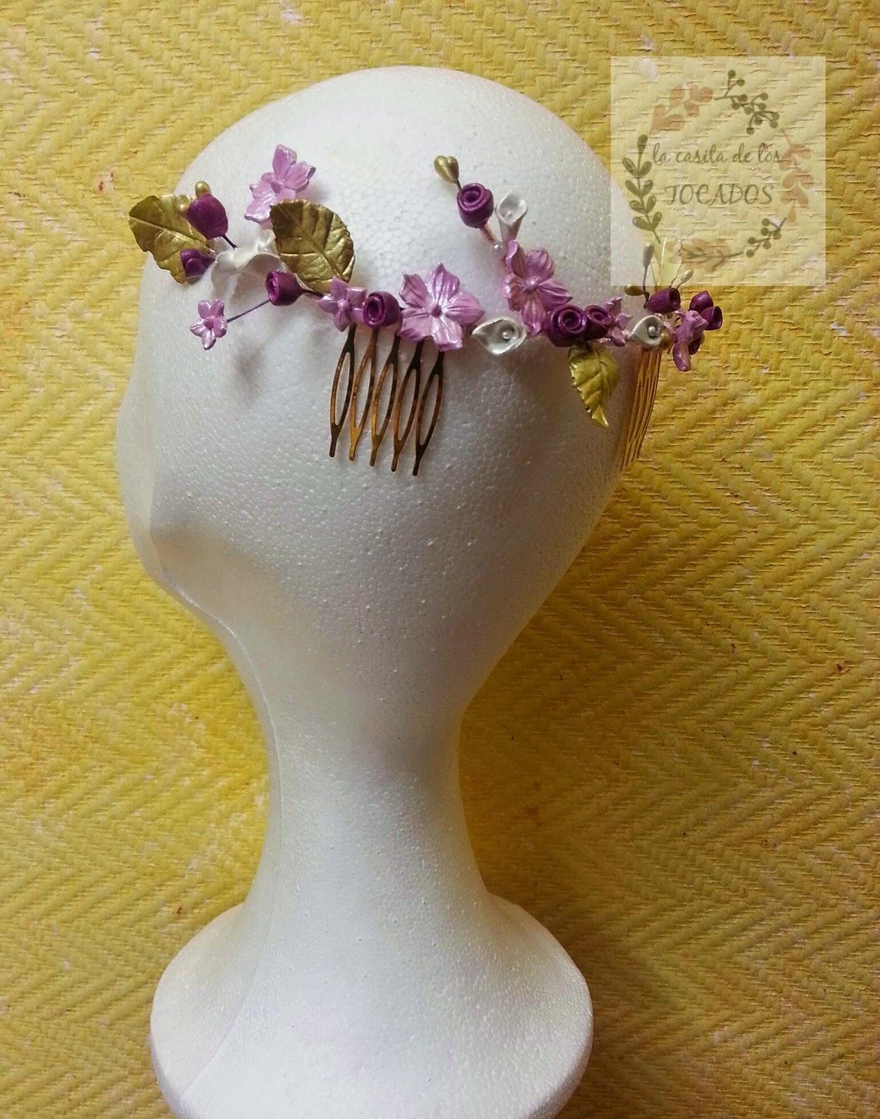 peineta de porcelana para boda en colores dorado, rosa , buganvilla y blanco perla