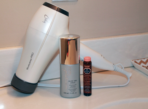 ION whirlwind pro, Kenra Blow-Dry Spray, Hask Coconut Hair Oil