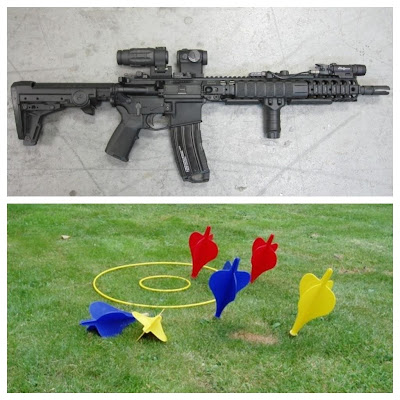 Juxtaposed photos of a Bushmaster assault rifle and a set of lawn darts
