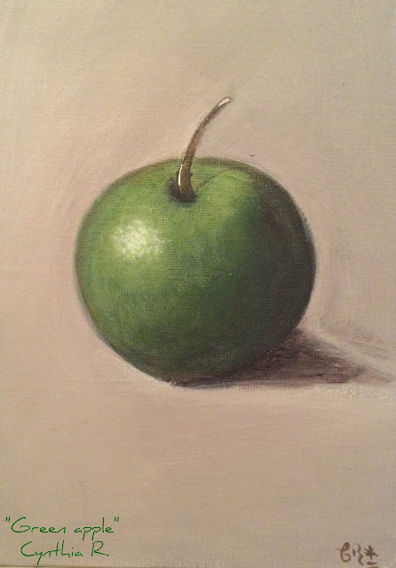 green apple, acrylic painting on canvas, pintura acrílica en canvas, manzana verde