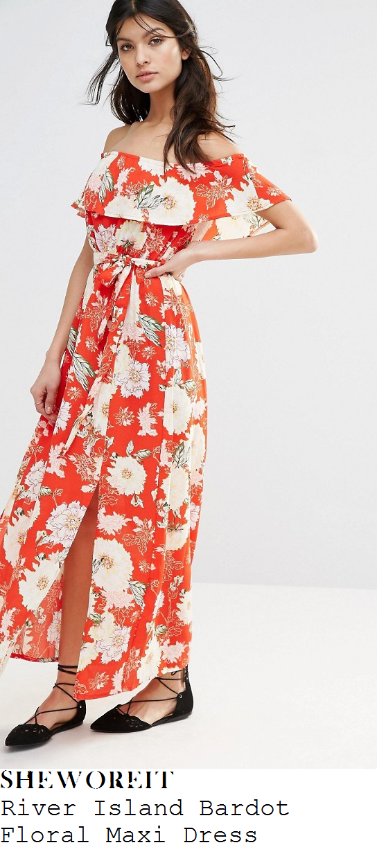 holly-willoughby-river-island-red-cream-and-green-oriental-floral-print-off-the-shoulder-bardot-neckline-floral-maxi-dress