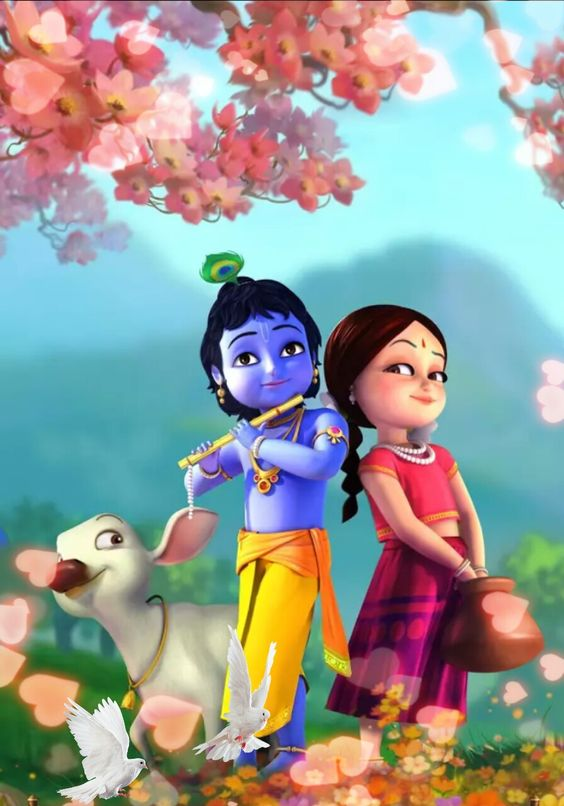 Animated Little Krishna Cartoon Image with Radha