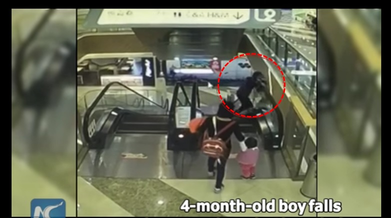 Grandma trips, accidentally drops baby 30 feet down the side of an escalator