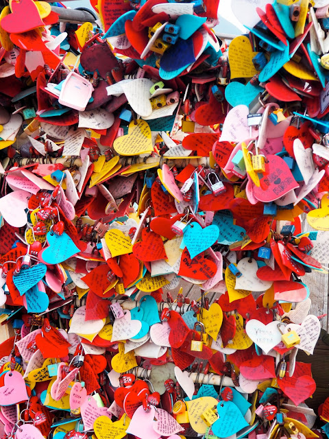 Plastic hearts for couples in Yongdusan Park, Nampo-dong, Busan, South Korea