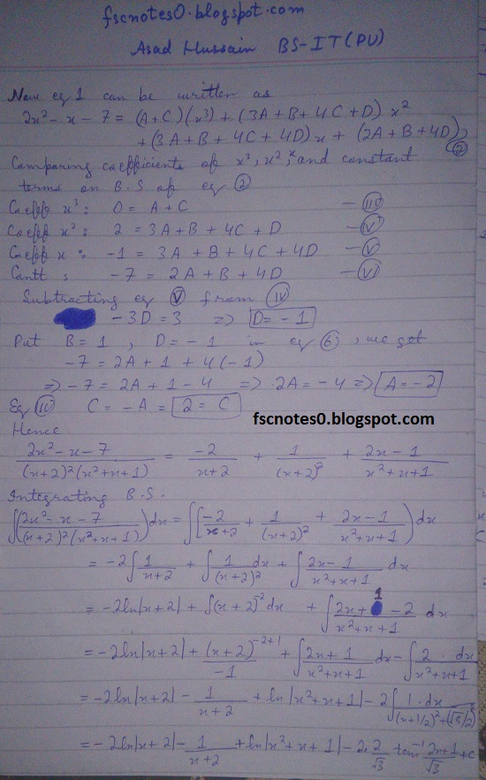 FSc ICS Notes Math Part 2 Chapter 3 Integration Exercise 3.5 question 23 - 31 by Asad Hussain 3