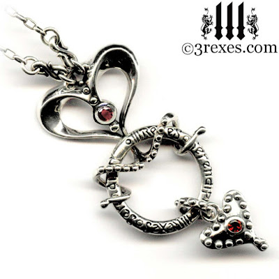 serendipity gothic heart silver necklace for women fairytale jewelry with garnets