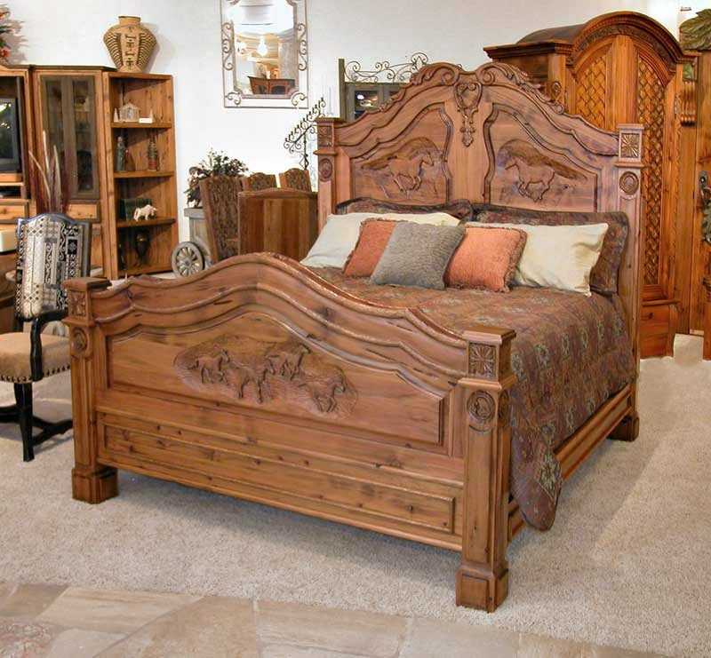 King Bed French Western Bed Teak Wood Carving Furniture