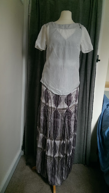 White silk t-shirt and Cavalli Maxi Dress