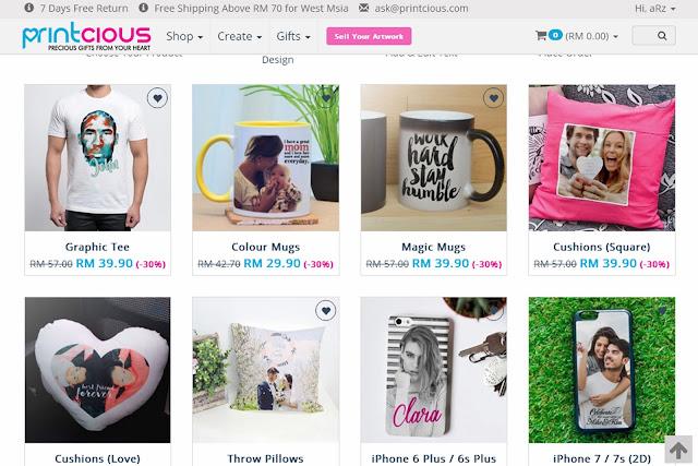 cipta baju dengan corak sendiri, buat mug design sendiri, phone case diy, printcious.com, idea kreatif cipta hadiah untuk tersayang,