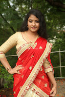 Akshara in Red Saree Golden Choli at LV Movie Makers Production No 1 Movie Opening ~  Exclusive 028.JPG