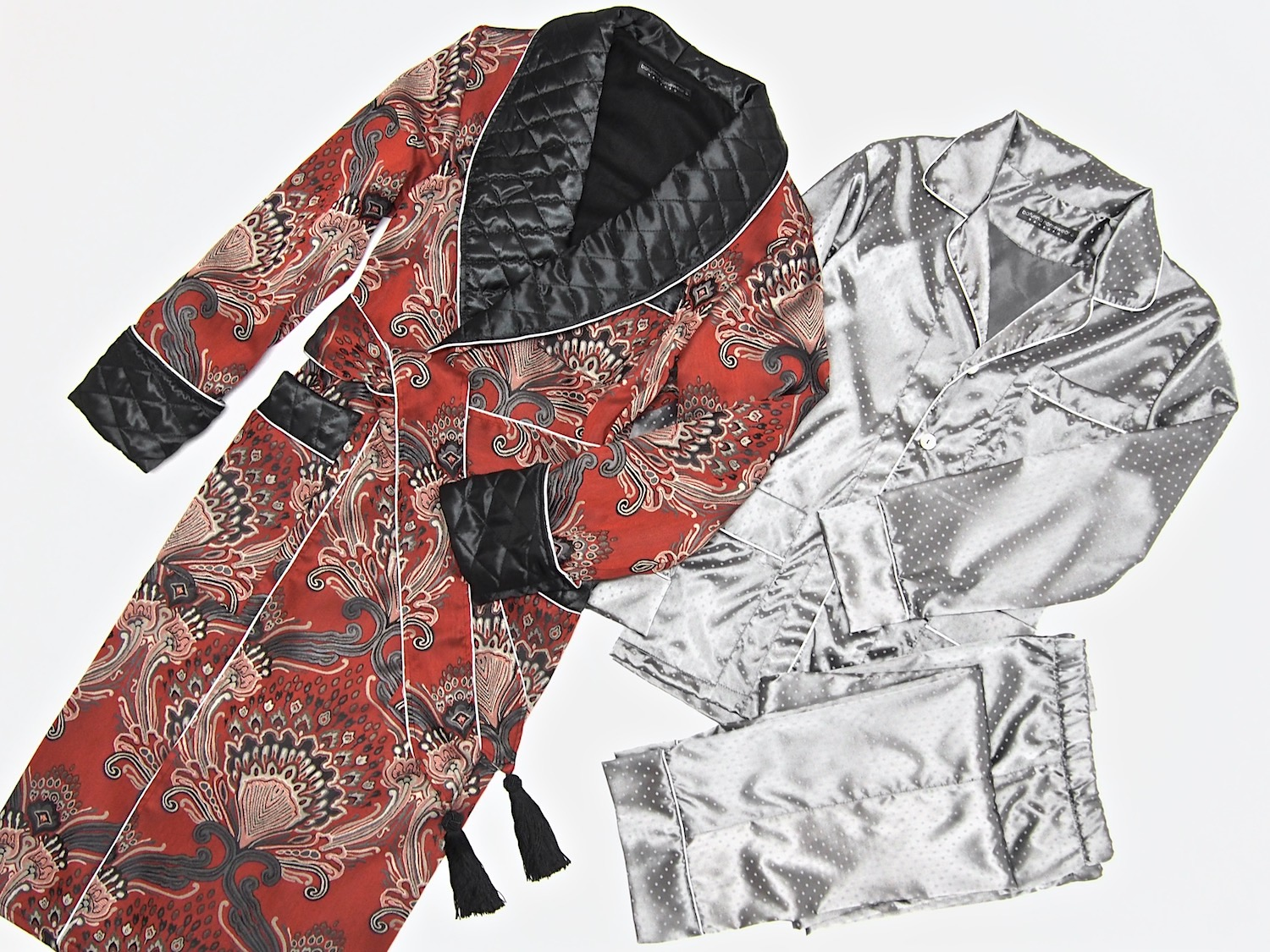 mens paisley silk dressing gown quilted robe smoking jacket pajamas c1a7c7f8c