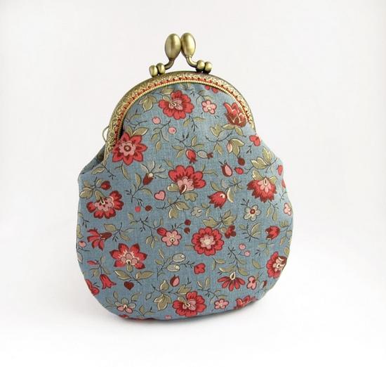 цветочный, кошелек, blue, purse, sewing