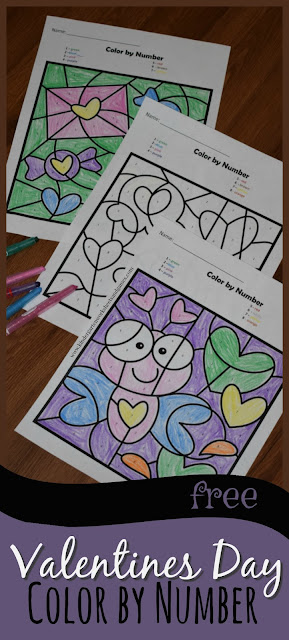 FREE Valentines Day Color by Number are super cute math worksheets for Preschool and Kindergarten age kids that are perfect for math centers, morning work, homework, parties, homeschool, and home preschool!
