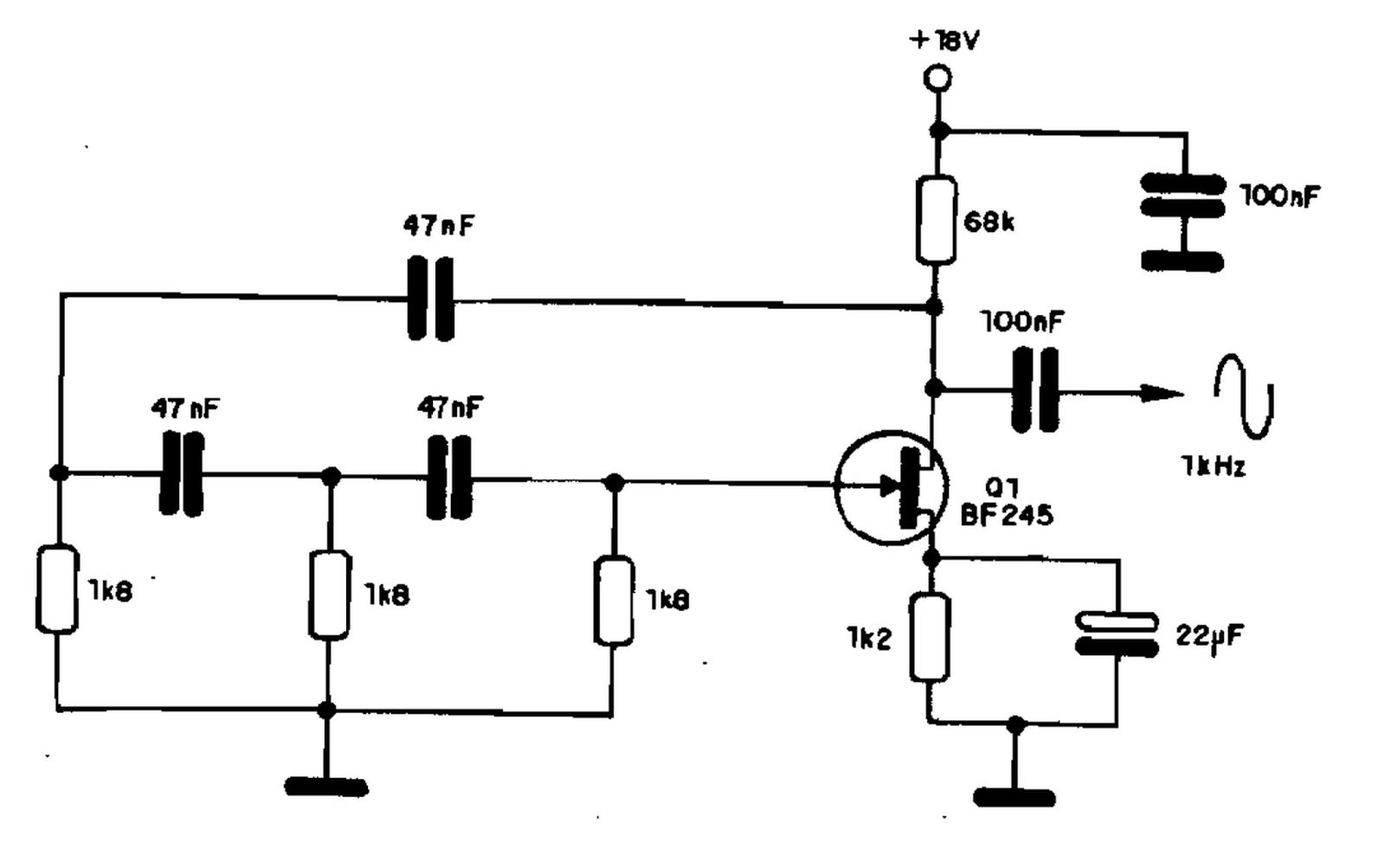 Circuito Oscilador : Oscilador por deslocamento de fase com mosfet leandrotec